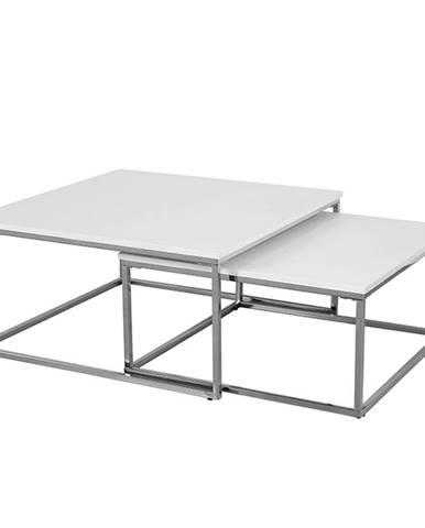 Set 2 konferenčných stolíkov chróm/biela ENISOL TYP 1