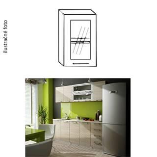 Kuchynská skrinka ľavá dub sonoma/biela strieborné orámovanie/sklo IRYS GW-40