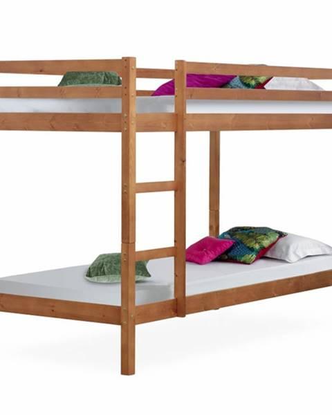Kondela Poschodová posteľ borovicové drevo svetlohnedá VERSO