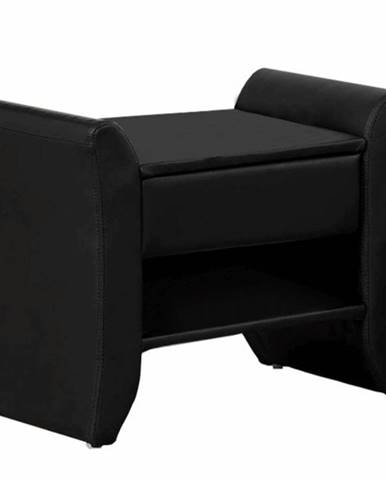 Nočný stolík čierna ekokoža BOLTON