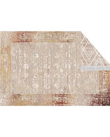 Obojstranný koberec béžová/vzor 160x230 NESRIN