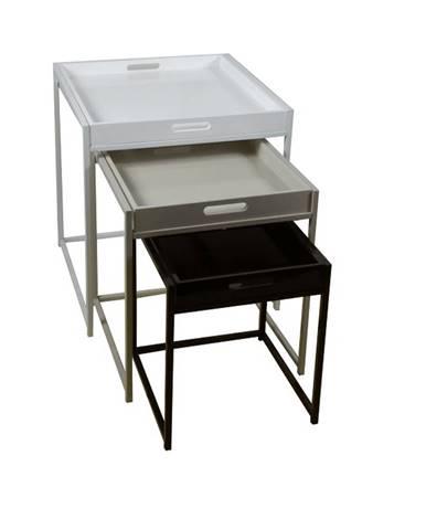Set 3 príručných stolíkov biela/sivá/čierna BARTON