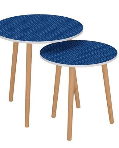 Set dvoch príručných stolíkov modrá/biela BRIX