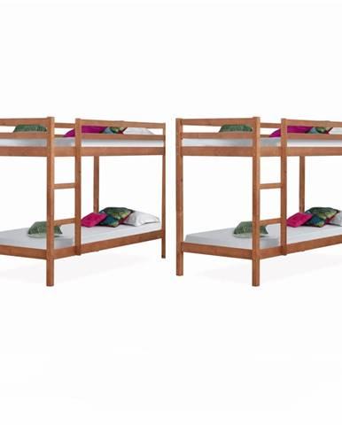 2 kusy poschodová posteľ borovicové drevo svetlohnedá VERSO