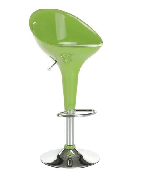 Tempo Kondela Barová stolička zelená/chróm ALBA NOVA