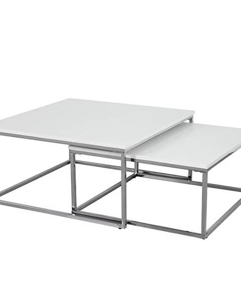 Tempo Kondela Set 2 konferenčných stolíkov chróm/biela ENISOL TYP 1 poškodený tovar