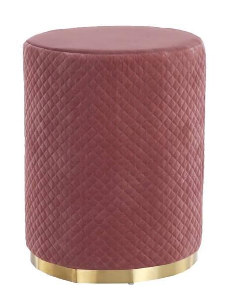 Kondela Taburet ružová Velvet látka/zlatý náter BARICA