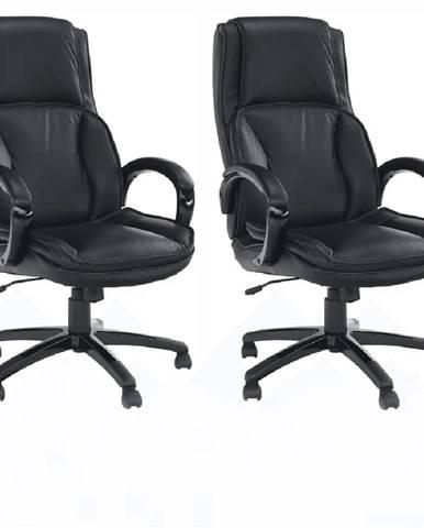2 kusy kancelárske kreslo koža/ekokoža čierna LUMIR