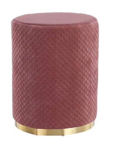 Taburet ružová Velvet látka/zlatý náter BARICA
