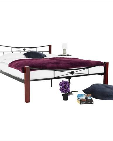 Kovová posteľ drevo orech/čierny kov 160x200 PAULA