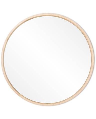 Nástenné zrkadlo s rámom z masívneho dubového dreva Gazzda Look, ⌀27cm