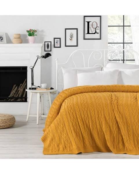 Homemania Horčicovožltá prikrývka cez posteľ Knit, 220 x 240 cm