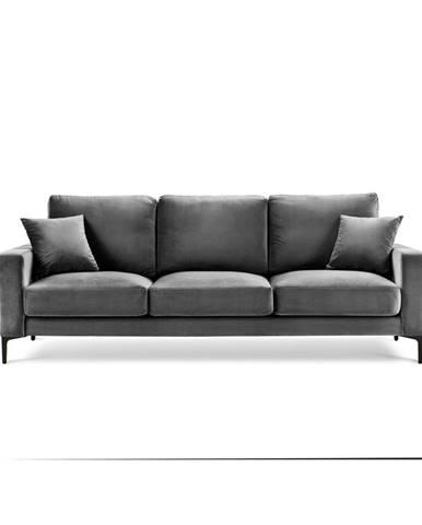 Sivá zamatová pohovka Kooko Home Harmony, 220 cm