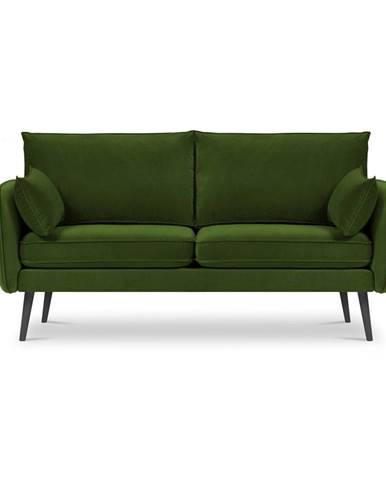 Zelená zamatová pohovka s čiernymi nohami Kooko Home Lento, 158 cm