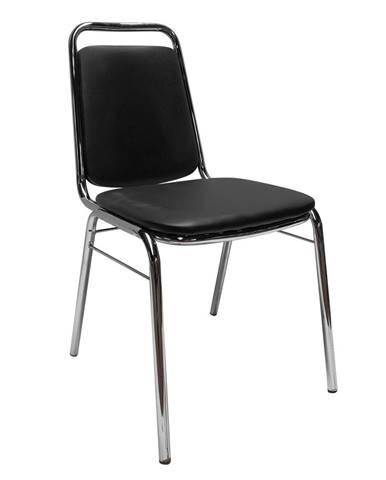 Zasadacia stolička čierna ekokoža ZEKI