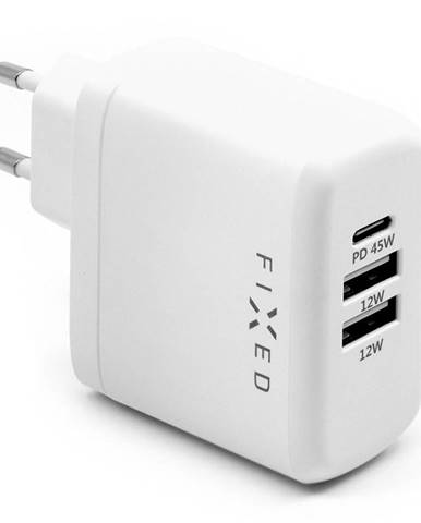 Nabíjačka do siete Fixed USB-C PD, 2x USB 2.0, 45W biela