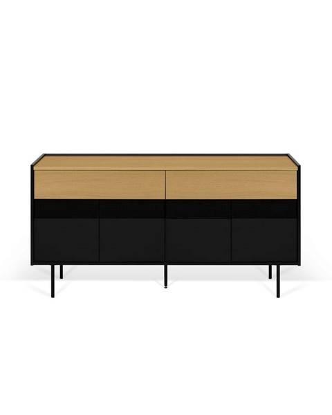 TemaHome Čierny televízny stolík s prvkami v dekore duba TemaHome