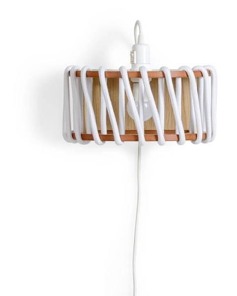 EMKO Biela nástenná lampa s drevenou konštrukciou EMKO Macaron, dĺžka 30 cm