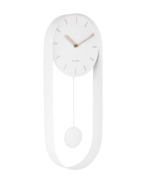 Karlsson Biele kyvadlové nástenné hodiny Karlsson Charm