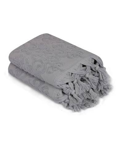 Sada 2 sivých uterákov Madame Coco Bohème, 50×90cm