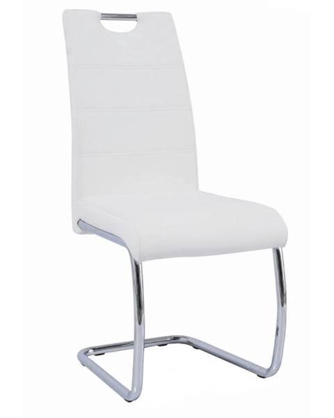 Tempo Kondela Jedálenská stolička biela/svetlé šitie ABIRA NEW