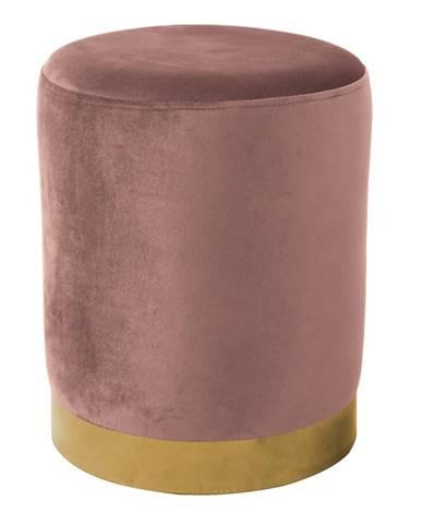 Taburet ružová Velvet látka/gold chróm-zlatá ALAZ