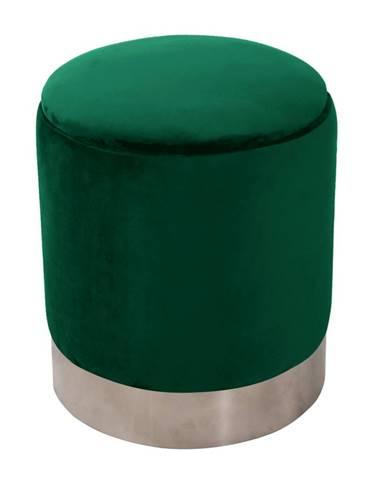 Taburet s úložným priestorom zelená Velvet látka/strieborná chróm DARON