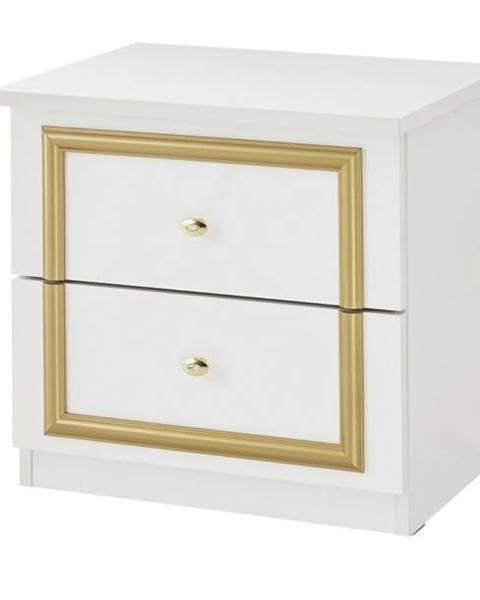 Sconto Nočný stolík QUEEN biela/zlatá