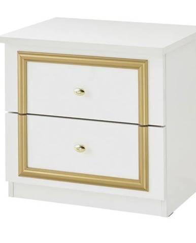 Nočný stolík QUEEN biela/zlatá