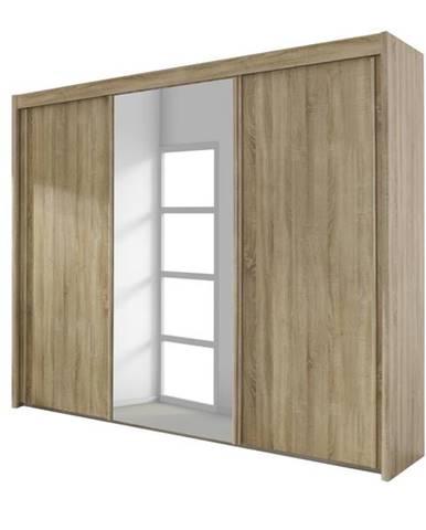 Šatníková skriňa KING dub sonoma, 280 cm, 1 zrkadlo