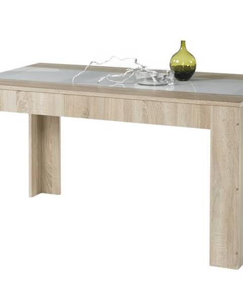 Sconto Jedálenský stôl MAJOR dub sonoma/biele sklo