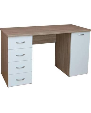 Písací stôl LADA dub sonoma/biela