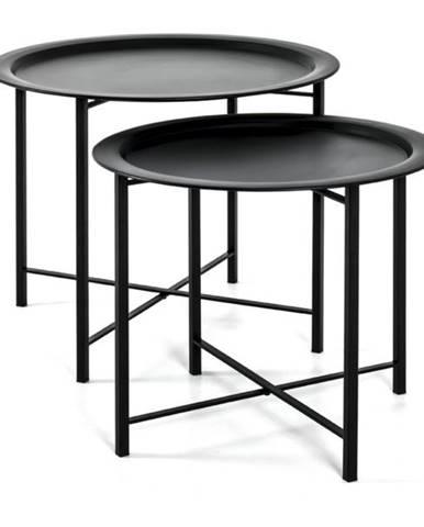 Prístavné stolíky FABIOLA čierna, 2 kusy