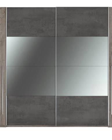 Šatníková skriňa s kombinovanými dverami MERWIN dekor dub/antracitová