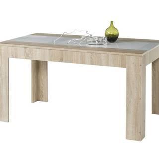 Jedálenský stôl MAJOR dub sonoma/biele sklo