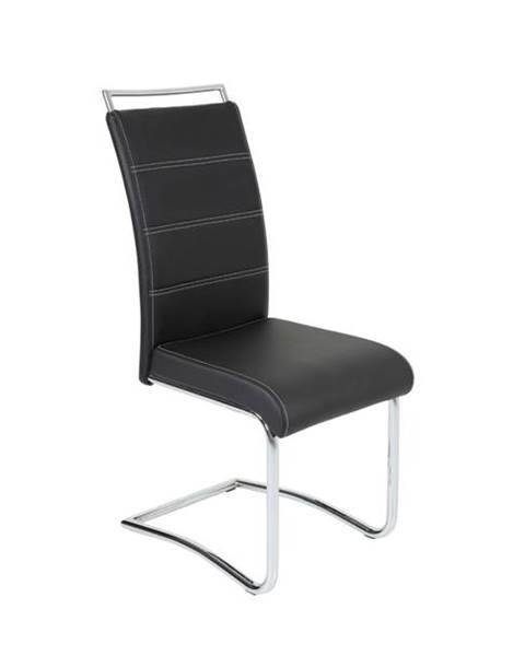 Sconto Jedálenská stolička BELLA 2 čierna/chróm