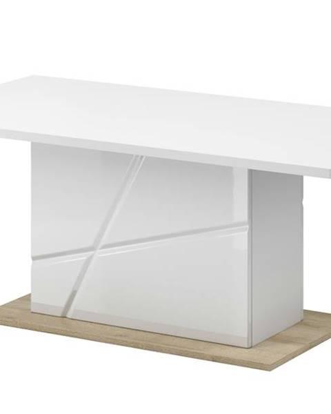 Sconto Konferenčný stolík FUTURA 09 biela vysoký lesk/dub riviera