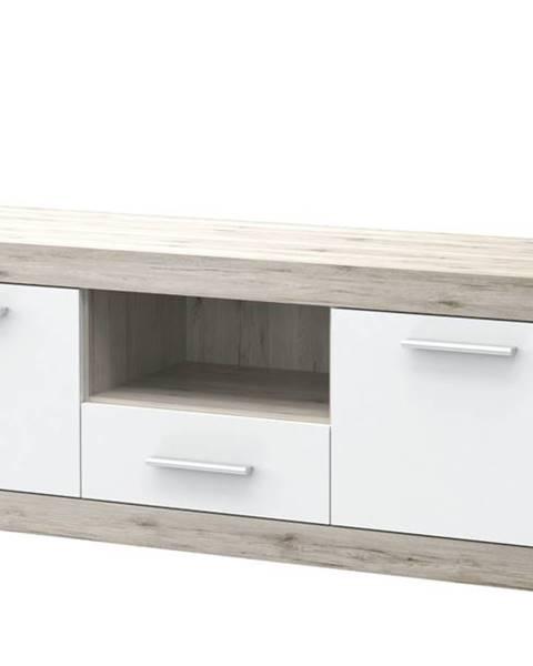 Sconto TV stolík BACCIO dub pieskový/biela