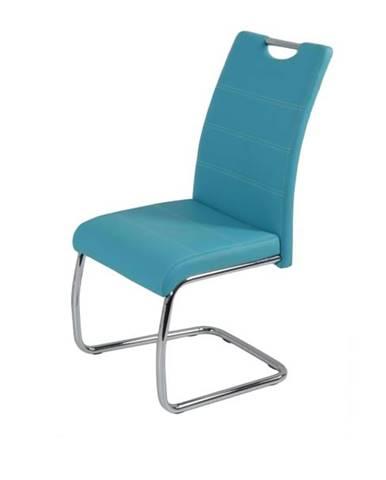 Jedálenská stolička FLORA S modrá, syntetická koža