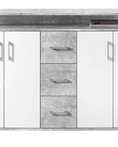 Komoda FUEGO beton/biela