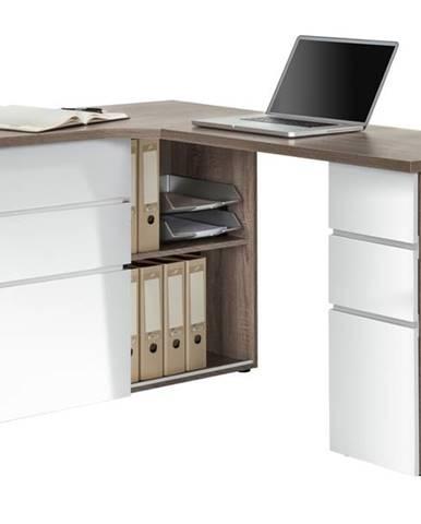 Rohový písací stôl BAKER dub truffel/biela