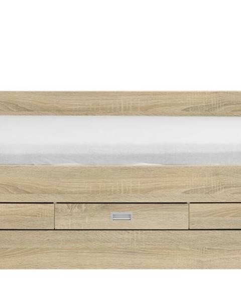 Sconto Posteľ s výsuvným lôžkom KLASA dub sonoma, 120x200 cm