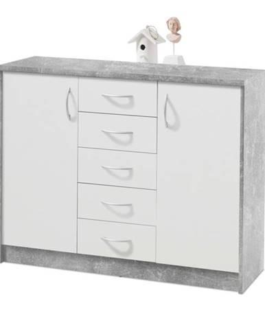 Komoda OPTIMUS 38-007 beton/biela
