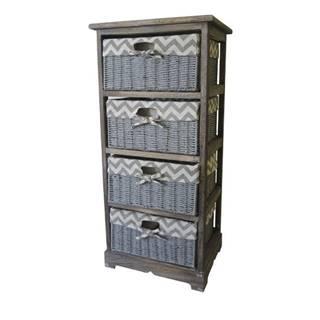 Komoda/regál so zásuvkami TOSCA 4 hnedá/sivá