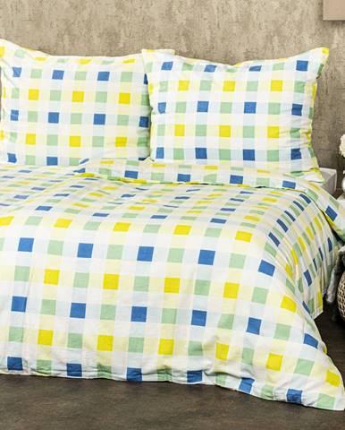 4Home Flanelové obliečky Kocka zelená, 160 x 200 cm, 70 x 80 cm