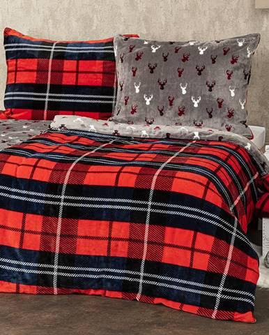 4Home obliečky mikroflanel Kocka červená, 160 x 200 cm, 2 ks 70 x 80 cm