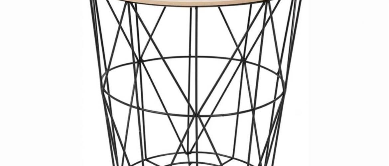 Tempo Kondela Príručný stolík, prírodná/čierna, NANCER